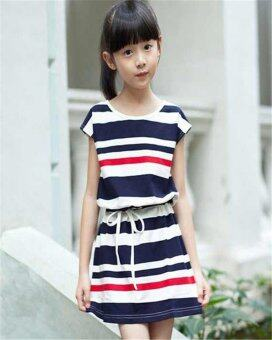 (For daughter)Authentic Mother Daughter Dresses 2016 Striped Dress for Girls and Women Summer Cotton Dress Girls Vestidos Family Clothing(Dark blue)