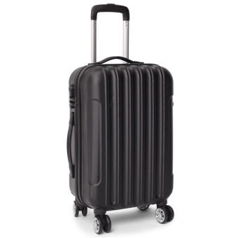[Venture Deal] 20\ Compact ABS Black Straight Line Travel Luggage with Free Protective Brown Cover