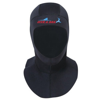 3MM raglan warm winter swimming cap Diving hood diving hat (Black)-M