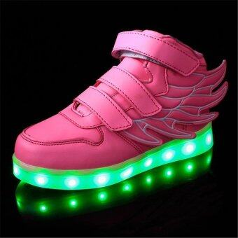 2016 Fashion LED Sneakers Sports Shoes LED Shoes For Kids Boys Girls USB Charging Flashing 7 Colors Sneakers