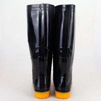 (39-44) Men Rain Boot Knee Height PVC Waterproof Anti-slip Sole Wear-resisting Black