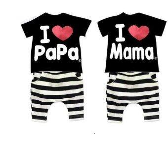 2016 Children Clothing Summer Set Boys Girls I Love Papa and Mama Short Sleeve T-shirt+pants Suit Kids Pajamas Sets Black I Love MaMa for 2-7Y