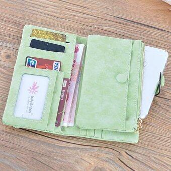 7dde8f1d0b Women s Long Frosted Scrub PU Leather Wallet Button Clutch Purse Card  Holder Case(Fruit Green