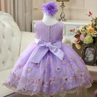 2016 fashion Baby Girls Lace Sequins Tulle Flower Party Dress Princess Girl Dress Gown Formal Wedding kids Dresses