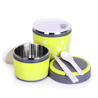 (BO ER LE) Lunch Box Stainless Steel 2Layer - Yellow