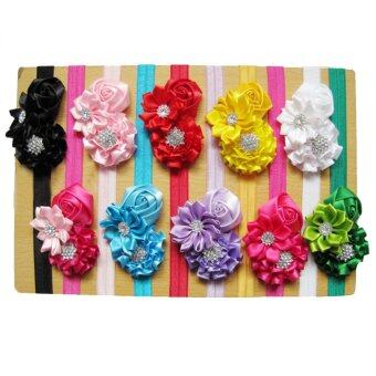 10pcs Kid Baby Girl Toddler Cute Chiffon Rose Flower Hairband Headwear