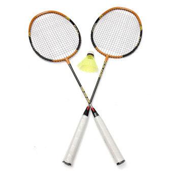 2 Player Aluminum Carbon Badminton Racket Sport Racquet Bag Shuttlecock Set