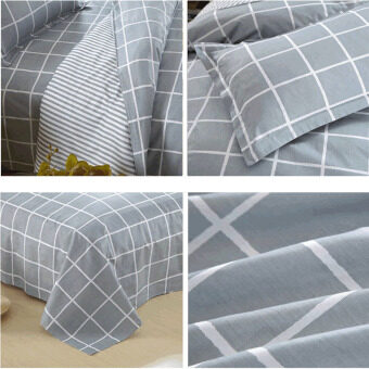 100% Cotton 3 pieces Bed sheet Quilt Cover with pillow case bedding Set single size plaids pattern