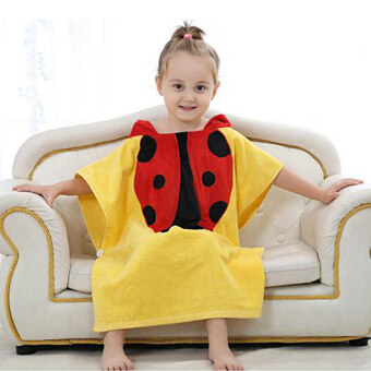5 Types Kids Infant Cartoon Animal Baby Hooded Bathrobe Towel Children Bath Beetle