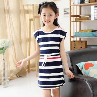 (For mom)Authentic Mother Daughter Dresses 2016 Striped Dress for Girls and Women Summer Cotton Dress Girls Vestidos Family Clothing(Dark blue) (Intl)
