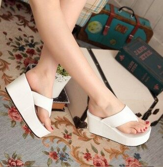 511b2f7412dd58 Women Sexy High Heels Flip Flops Slippers Wedge Platform Antiskid Female Beach  Shoes(White)