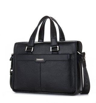 100% Genuine Leather Men's Briefcase Cowhide Business Shoulder Messenger bags 15.6\ Laptop Tote Handbag Black