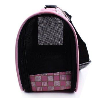 [Big Size] Oxford Pet Carrier Bag Carry - Pink Square