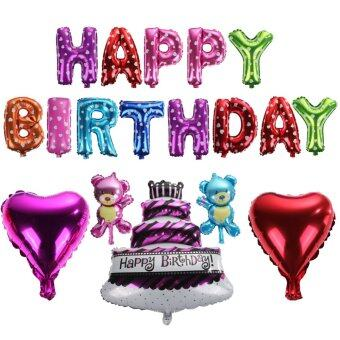 1 set multicolor foil letter balloons Happy Birthday With Hand pumps tape - Intl