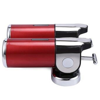 1000ML Stainless Steel Soap Dispenser Lotion Pump with T-bar Handle Wall Mounted Dual Shampoo Box (RED)