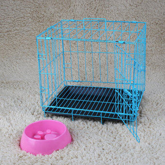 2 Door Pet Dog Metal Collapsible Wire Cage Kennel with Plastic Tray Black