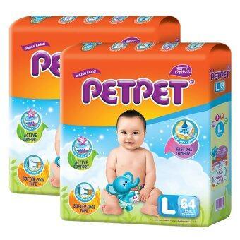 [Best Night Bundle] PETPET Tape Diaper Mega Packs L64 (2pack) + PETPET Night Tape Diaper Mega Packs M60 (1pack)