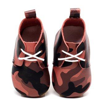 Baby Army Camouflage PU Leather Soft Soled Shoes (Red)