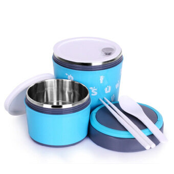 (BO ER LE) Lunch Box Stainless Steel 2Layer - Blue