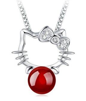 DeParis Premium S925 Silver Ruby Kitty Pendant + Earstud Sets (Ruby Red)