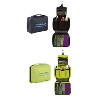 01fa5472d6e1 (BUNDLE DEAL) Bagstationz Lightweight Water Resistant Toiletries Pouch  (Black   Green)