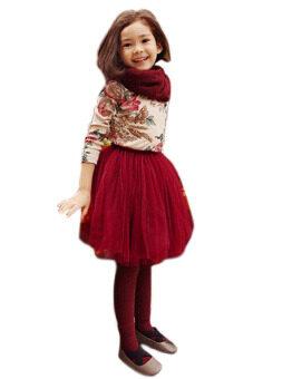 2015 New summer style lovely fluffy soft tulle girls tutu skirt pettiskirt 3 colors girls skirts for 3-10 years old GD0058-Red wine-120cm