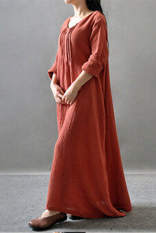 2015 New Autumn Long Robe Cotton Joint Expansion Dress Red