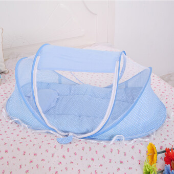 3pcs Folding Baby Mosquito Net with Mattress and Pillow (Blue)