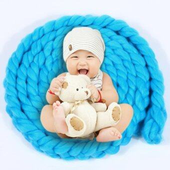 4M Wool Twist Rope Photo Props Backdrop Baby Photography Prop(Blue) - Intl