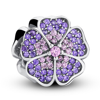 100% 925 Sterling Silver Sparkling Primrose Pink & Purple CZ Charm Fit Bracelet Jewelry Making Party Birthday Gift PAS024