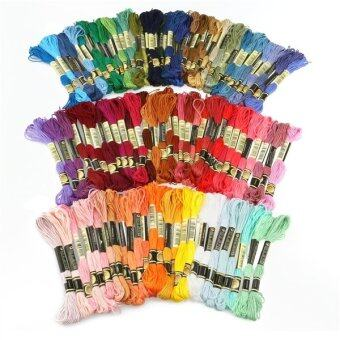 100pcs 8M Multicolor Cotton Cross Stitch Embroidery Threads Floss Sewing Threads