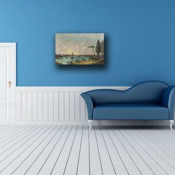 (75x48cm)Jane blue store The East River Looking Southwest, Blackwell's Island in Foreground Printed On Canvas Home Decor Wall Art beautiful Oil Painting Frameless