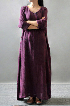 2015 New Autumn Long Robe Cotton Joint Expansion Dress Purple