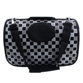 [Big Size] Oxford Pet Carrier Bag Carry - Black Square