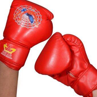 1 Pair PU Boxing Muay Thai Kickboxing Training Children boxing gloves-Red