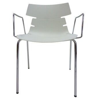 [High Quality] Modern ZAZZLE Arm Dining Chair - Chrome With White PP