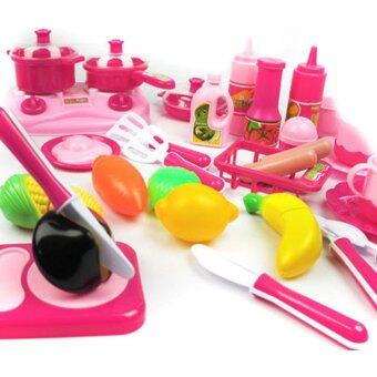 40pcs/set Pink Kitchen Food Cooking Role Play Pretend Baby Toy