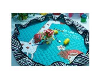 1.5 m x 1.5 m Children's Playmat 100% Cotton Cartoon Giraffe Round Folding (As Storage Bag)