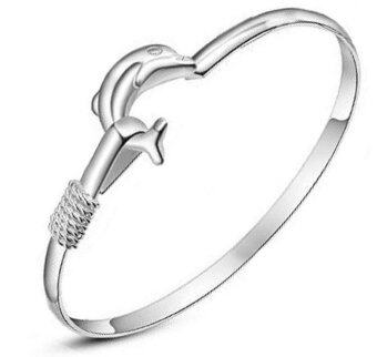 DeParis Premium S925 Silver Dolphin Bangle + Free Dolphin Ring