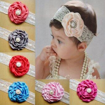 12pcs Kid Baby Girl Toddler Cute Chiffon Rose Flower Lace Hairband Headwear