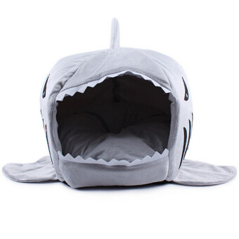 2016 2 Size Pet Products Warm Soft Dog House Pet Sleeping Bag Shark Dog Kennel Cat Bed Cat House Cama Perro(Size M)(Blue)