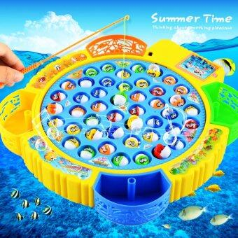 Electronic Fishing Toy Game Musical Rotating Plastic Fish Toy Colorful