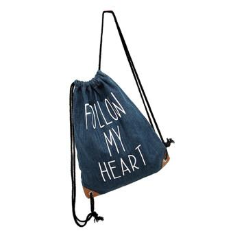 f76429828c EOZY New Fashion Swimming Drawstring Beach Bag Sport Gym Backpack(Dark Blue)