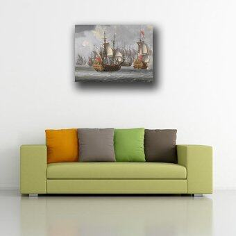 (80x59cm)Jane blue store The sea warship Printed On Canvas Home Decor Wall Art beautiful Oil Painting Frameless