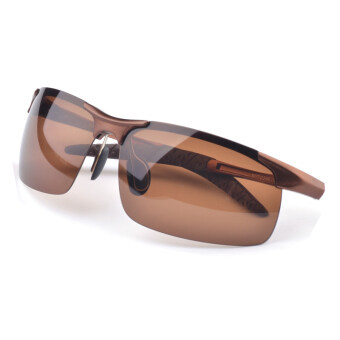 Aluminum Magnesium Alloy Polarized Sunglasses Men Driving Outdoor Sports Sun Glasses (Brown)