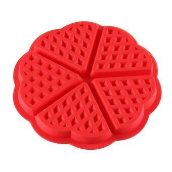 1 X Heart-shaped Waffles Mold 5-Cavity Bundt Oven Muffins Baking Mould Cake Pan Silicone Mold Tool P10