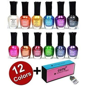 [International Shipping]Kleancolor Nail Polish Awesome Metallic Full Size Lacquer Lot of 12 Set + COTU  Brand Nail Buffer Block (1 pc)(????) - Intl