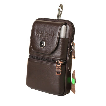 5.0/ 5 .5 inches New Cowhide Men's Waist Bags Genuine Leather Casual Male Fanny Pack Small Belt bags For Men Black Brown