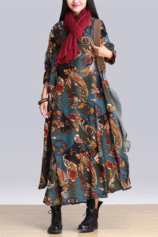 2015 New Autumn Style Big Size Embroidery Flower Cotton Joint Expansion Dress