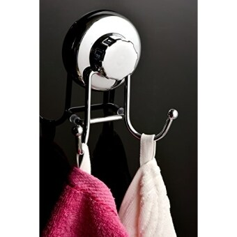 [International Shipping]HASKO accessories - Super Powerful Vacuum Suction Cup Hook Holder - Organizer for Towel, Bathrobe and Loofah - Strong Stainless Steel Hooks for Bathroom & Kitchen, Chrome()